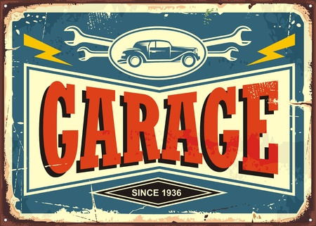 Vintage garage sign with car image and wrench tools Çizim