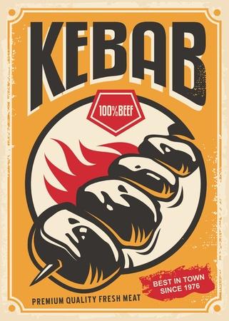 Retro poster design with hot tasty kebab on fire Ilustração