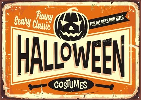 Disfraces de Halloween tienda de publicidad vintage firmar con cabeza de calabaza y mensajes promocionales. Foto de archivo - 86222921