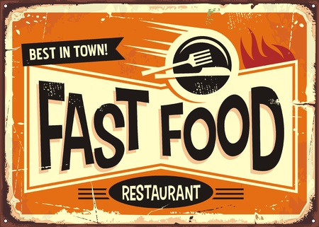 Fast food restaurant vintage tin sign design. Illustration