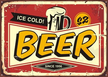 얼음 차가운 맥주 머그잔과 만화 스타일 복고풍 포스터 디자인