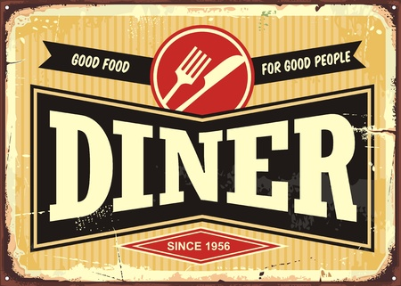 Diner retro sign board