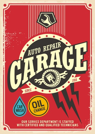 Classic garage retro poster design template. Car service and repair vintage sign.