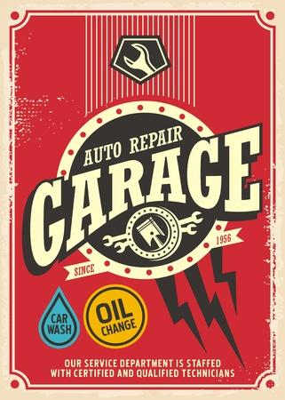 Modèle de conception d'affiche rétro de garage classique. Signe vintage de service et réparation de voiture. Vecteurs