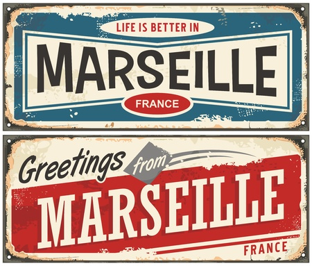 Greetings from Marseille France vintage signs set. Life is better in Marseille retro travel souvenirs. Zdjęcie Seryjne - 86728096