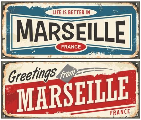 Groeten uit Marseille Frankrijk vintage tekens instellen. Het leven is beter in Marseille retro reissouvenirs. Stock Illustratie