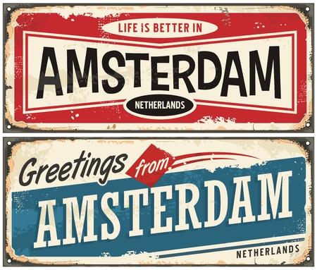 アムステルダム ビンテージ サイン コレクション。アムステルダム レトロなお土産テンプレートからのご挨拶。 写真素材 - 86728097