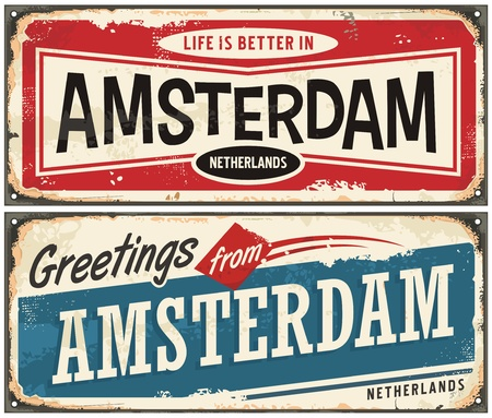 Amsterdam vintage signs collection. Greetings from Amsterdam retro souvenir template.