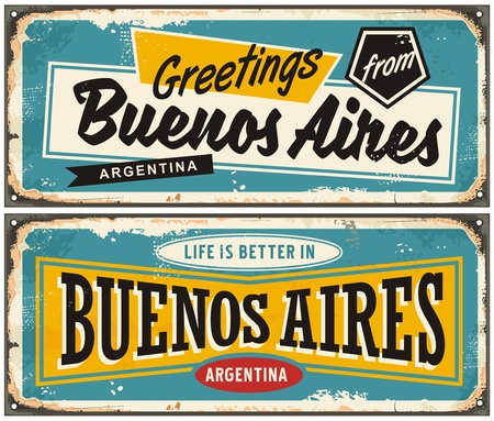 Buenos Aires Argentina retro greeting card template. Vintage travel comic style signs set from South America. Çizim