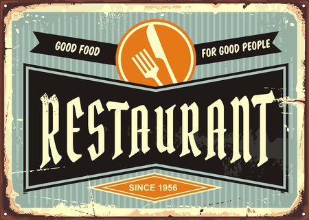 Restaurant sign with knife and fork symbol. Diner signboard template. Food and drinks advertisement.