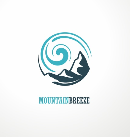 Mountain logo design idea with mountain shape and wind breeze drawing
