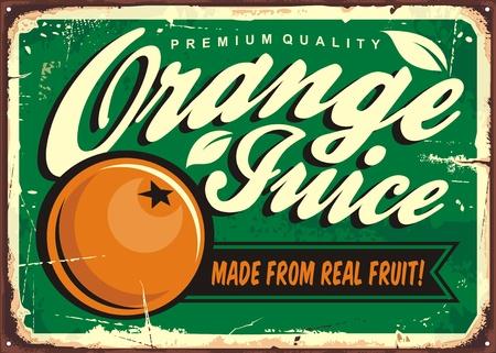 Orange juice vintage tin sign with creative typography and fresh orange fruit
