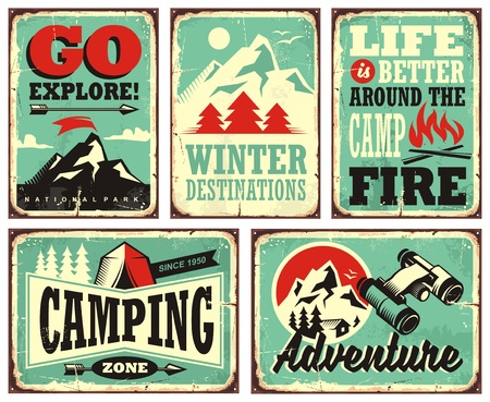 colección retro de signos de vacaciones de invierno y carteles Ilustración de vector