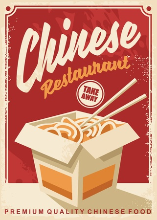 Chinese food restaurant retro promotional poster design Illusztráció