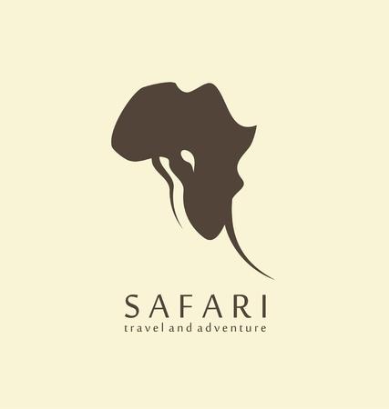 Het idee van het wildernisontwerp met olifantshoofd en vorm van het continent van Afrika. Stock Illustratie