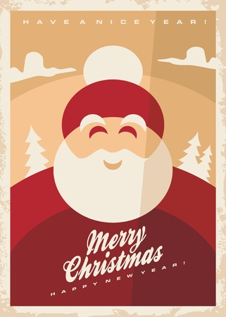 Christmas greeting card design template with smiling Santa Claus on old retro background