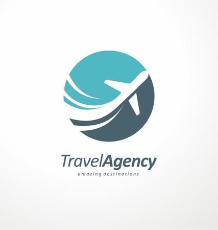 否定的なスペースで飛行機と旅行代理店ロゴデザインのアイデア