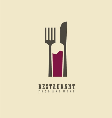 Restaurant logo with knife, fork and wine bottle in negative space