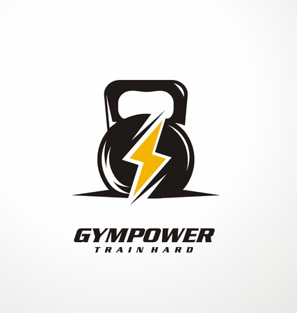 Gym macht logo ontwerp idee Stock Illustratie
