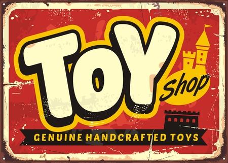 Speelgoedwinkel of speelgoedwinkel vintage vector teken concept