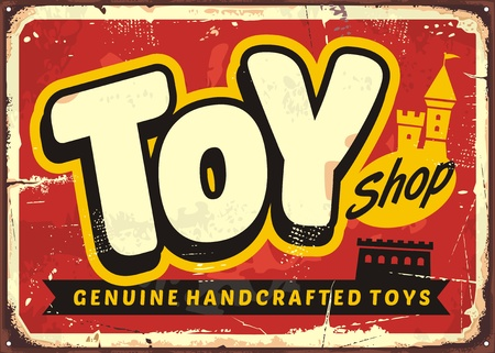 Toy shop or toy store vintage vector sign concept Фото со стока - 88540048