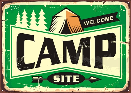 Camp site welcome sign with pine forest and tent graphic on green background Illustration