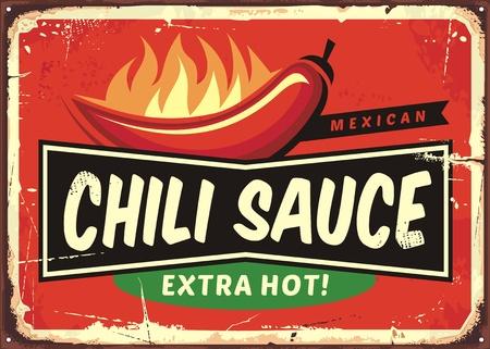 Chili sauce vintage tin sign