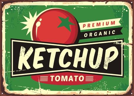 Ketchup signe rétro avec tomate juteuse Banque d'images - 88594742