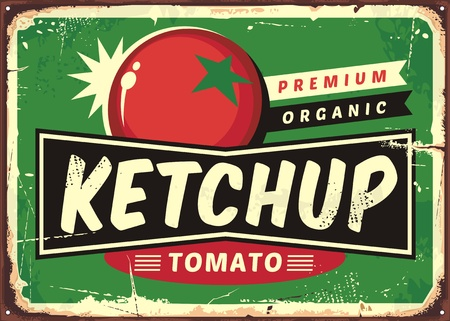Ketchup retro sign with juicy tomato Illustration