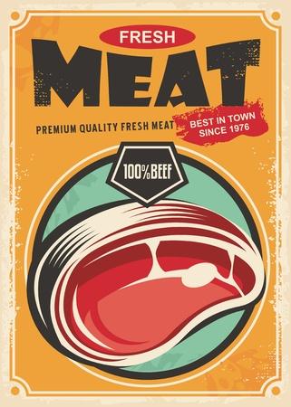 新鮮な肉のプロモーションのレトロなポスター デザイン
