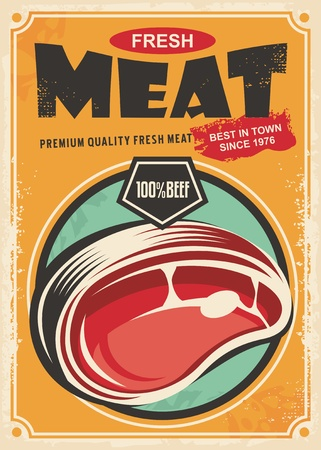 Fresh meat promotional retro poster design