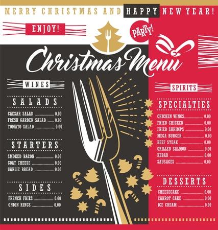 Kerst restaurant menusjabloon met kerst ontwerpelementen
