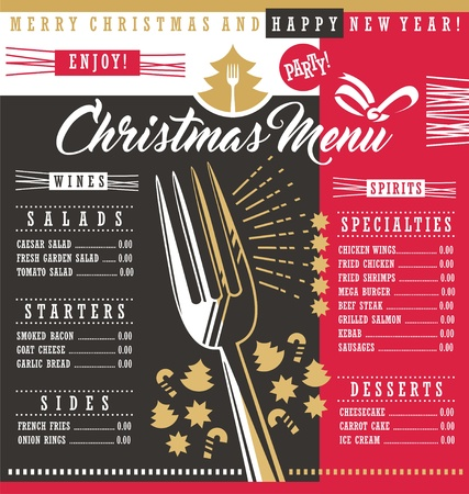 Christmas restaurant menu template with Christmas design elements