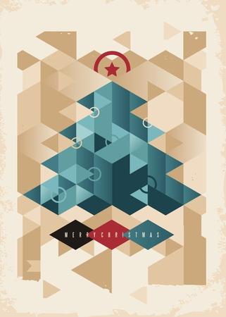기하학적 모양에서 만든 크리스마스 트리와 크리스마스 카드 디자인 일러스트