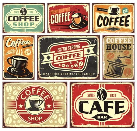 Coffee signs and labels collection Çizim