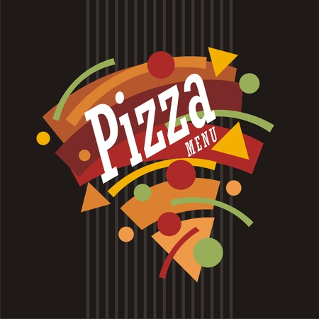 Creative artistic funky style pizza graphic made from geometric shapes. Colorful pizza menu template.