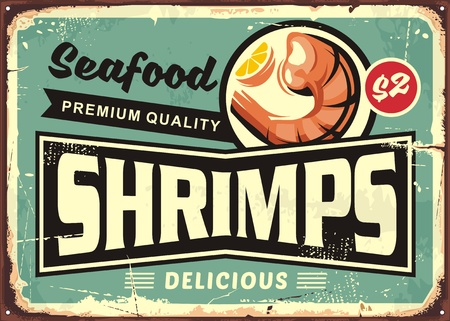 Seafood restaurant menu sign design.