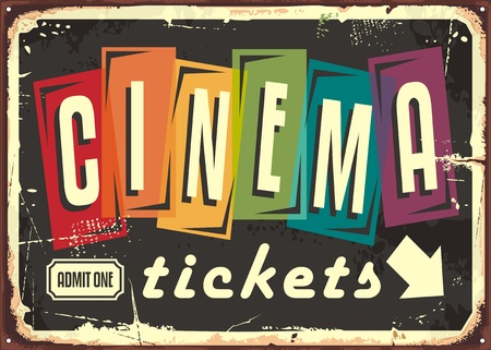 Cinema tickets retro sign with colorful typography on black background