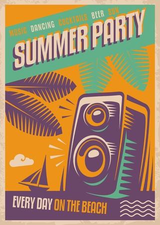 여름 파티 복고풍 포스터 디자인입니다.