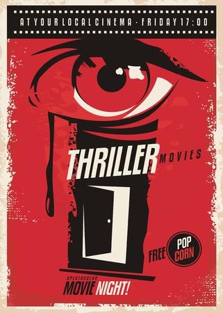 Thriller films marathon retro poster ontwerp idee. Stock Illustratie