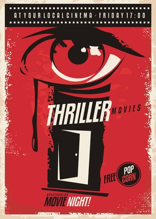 Thriller movies marathon retro poster design idea. Иллюстрация