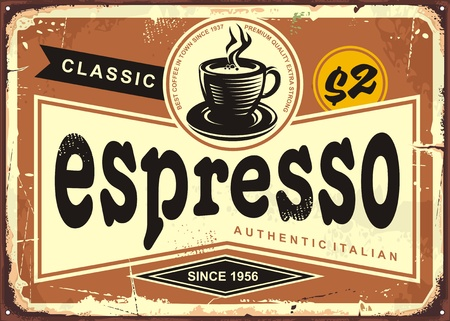 Authentic Italian espresso vintage tin sign. Ilustracja