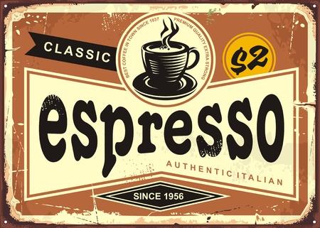 Authentiek Italiaans vintage espressuurteken.