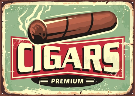 Cigars  store retro sign design template Çizim