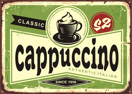 Cappuccino vintage cafe sign with coffee cup on green background Vectores