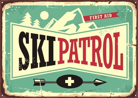 スキーパトロールレトロな看板デザイン  イラスト・ベクター素材
