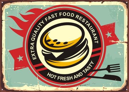 Burgers retro tin sign Stock Illustratie