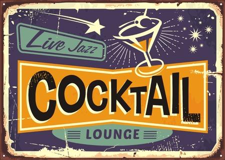 Cocktail lounge retro teken
