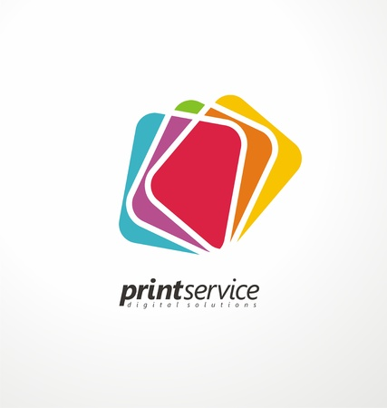 Creative logo design idea for printing shop Ilustracja