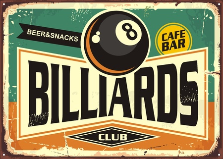 Retro billiards sign design with black eight ball Vectores